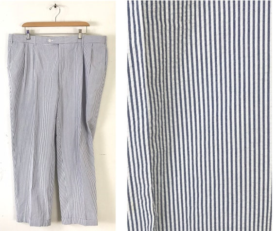 90s Blue & White Seersucker Pants Mens Size 40 Wai