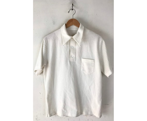 70s White Plaid Handmade Polo Shirt Mens Medium, V