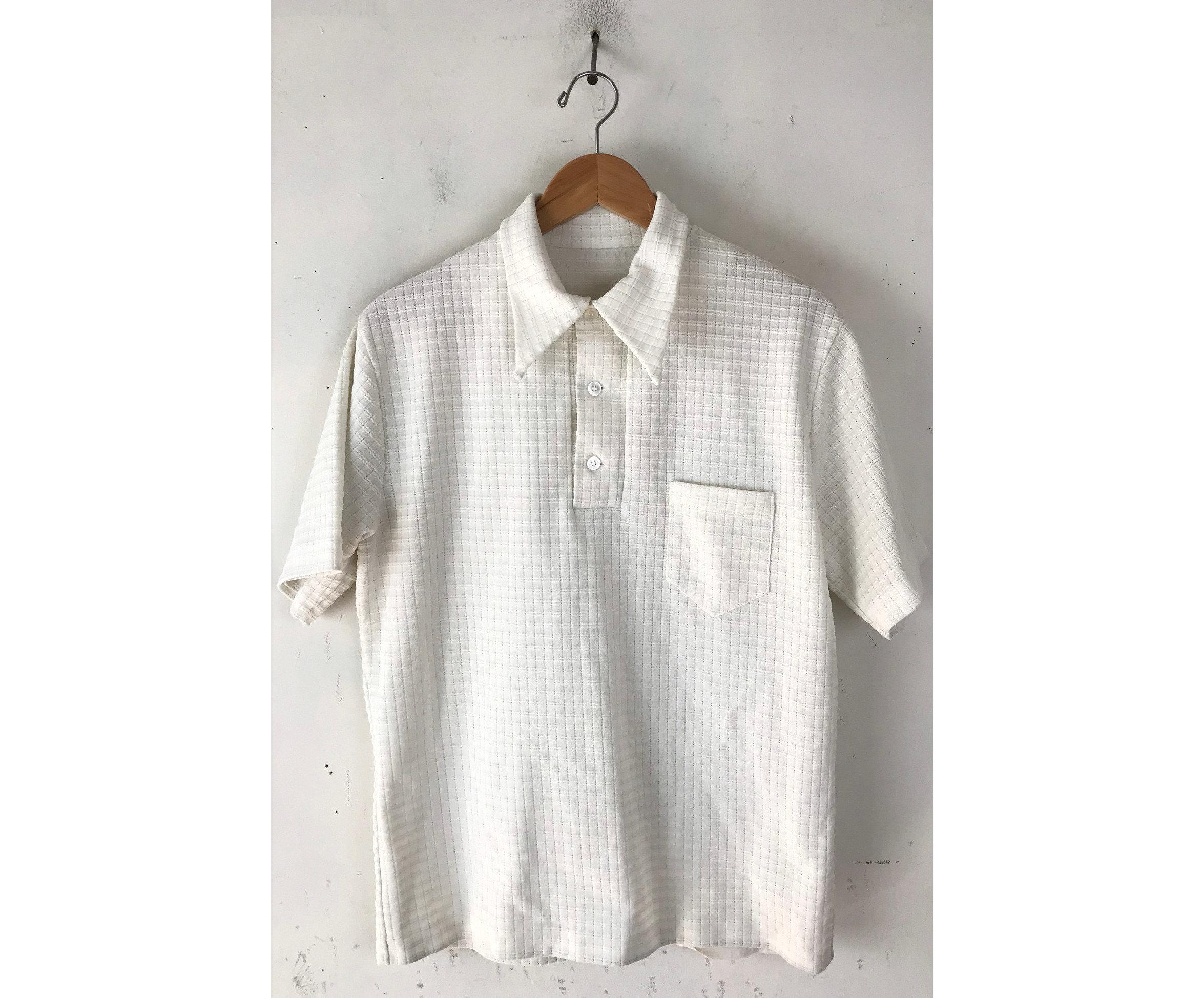 1970s Mens Shirt Styles – Vintage 70s Shirts for Guys 70S White Plaid Handmade Polo Shirt Mens Medium, Vintage Retro Disco Shirt, Knit Preppy $26.00 AT vintagedancer.com