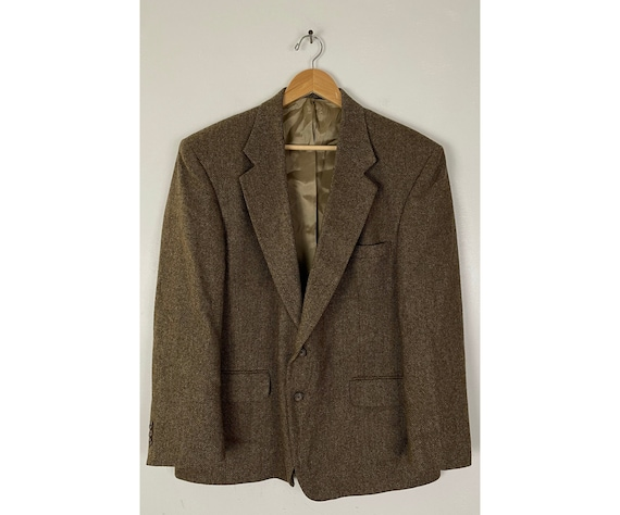 Vintage Brown Herringbone Tweed Sport Coat Mens Si