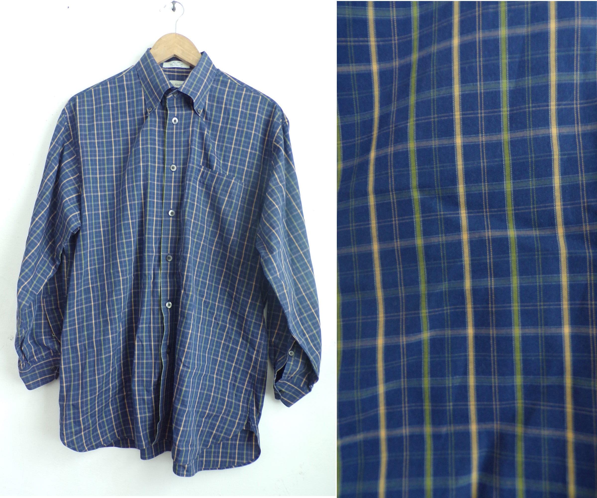 90s Blue Yellow Green Plaid Dress Shirt Mens Medium Plaid Etsy