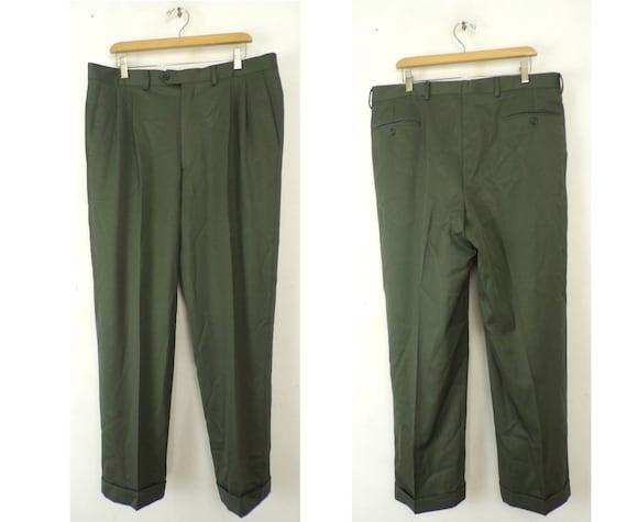 Vintage Olive Green Dress Pants Mens 36 Waist, Oli