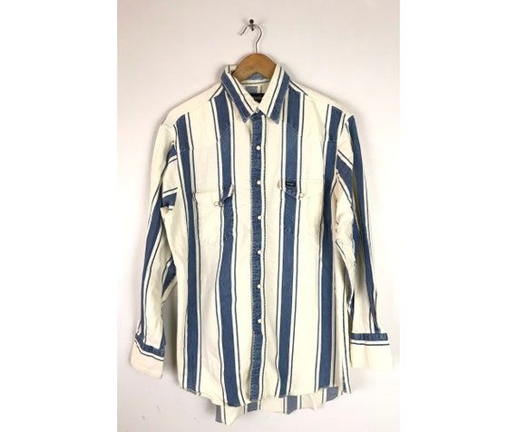 Vintage Wrangler Blue & White Striped Denim Wester