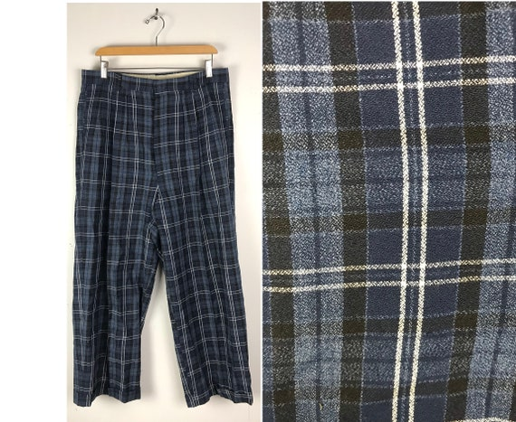 Vintage Dark Blue Plaid Wide Leg Dress Pants Mens… - image 1