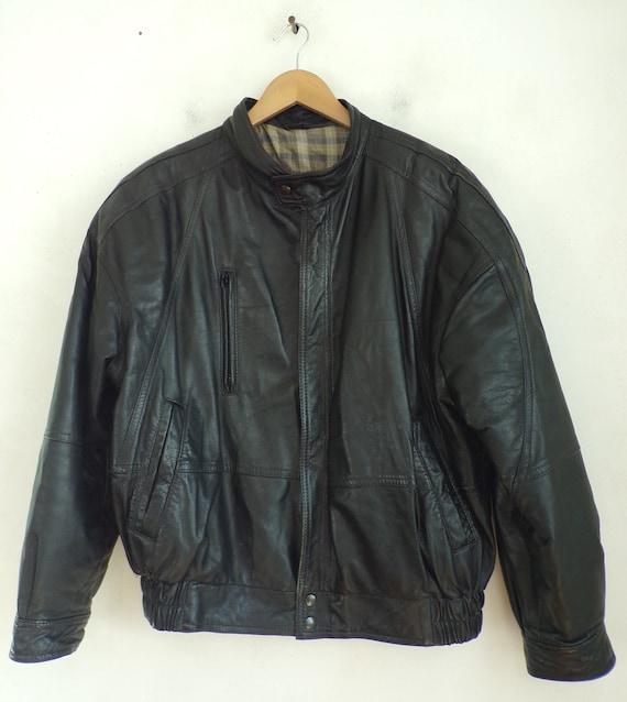 Vintage Black Leather Zip Front Coat Mens Size 48,