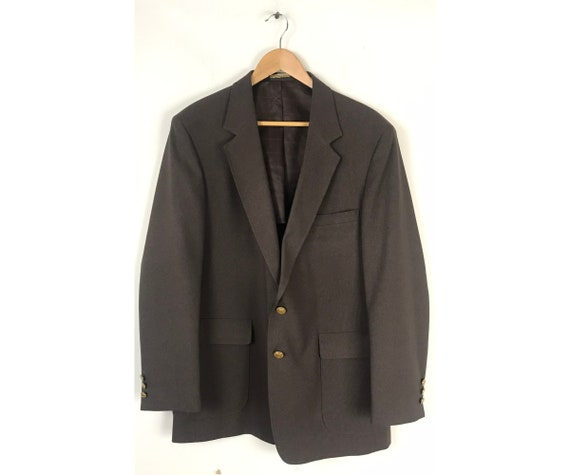80s Dark Brown Sport Coat with Gold Buttons Mens S