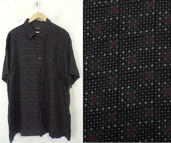 Vintage Black White & Red Print Shirt Mens XXL, Ge