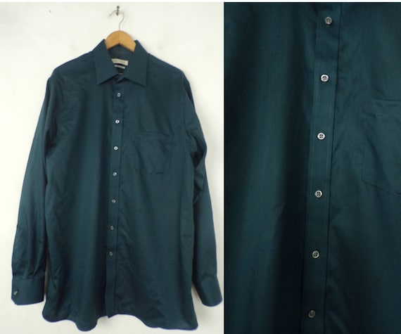 90s Joseph Abboud Teal Dress Shirt Mens Tall 17 3… - image 1
