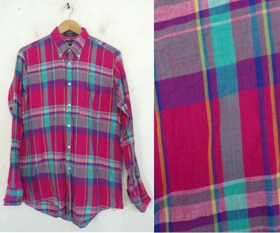 Vintage Hot Pink & Teal Plaid Button Down Shirt Me