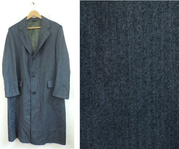 70s Cricketeer Dark Gray Tweed Long Coat Mens Medi