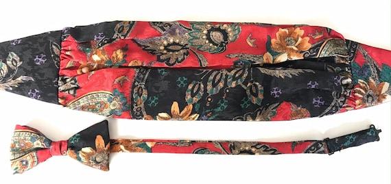 Vintage Colorful Floral Paisley Cummerbund & Bow T
