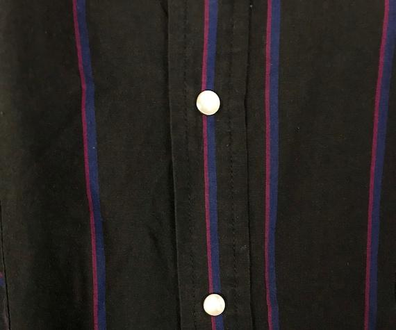 Vintage Black Pink & Blue Striped Western Shirt M… - image 4