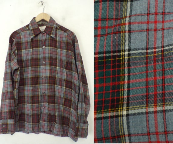 80s Gray Red Green & Yellow Plaid Shirt Medium, Wo