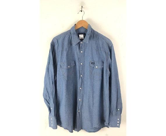 Vintage Wrangler Blue Denim Western Shirt Mens XL,