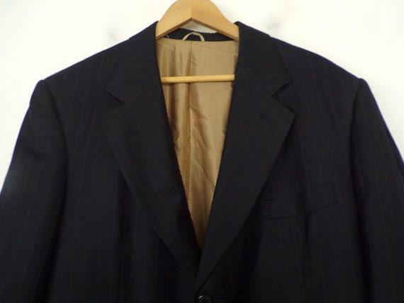 Vintage Black Gold Pinstriped Two Piece Suit Mens… - image 3