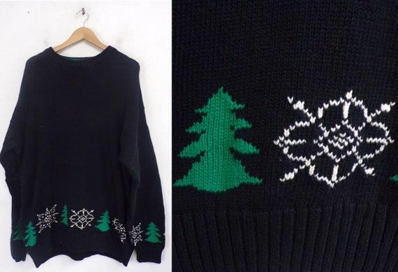 Vintage Christmas Tree Snowflake Sweater Mens XL,