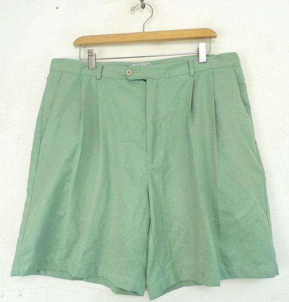 Vintage Mens Shorts, Light Green 38 Waist, Pleate… - image 1