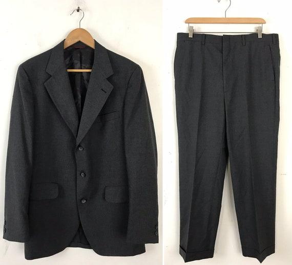 Vintage Mens Gray Suit, 90s Jos A Bank Premium Col