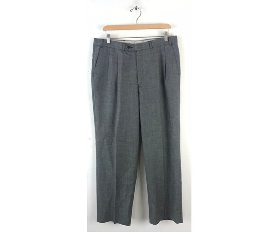 Vintage Black & White Print Dress Pants Mens Size