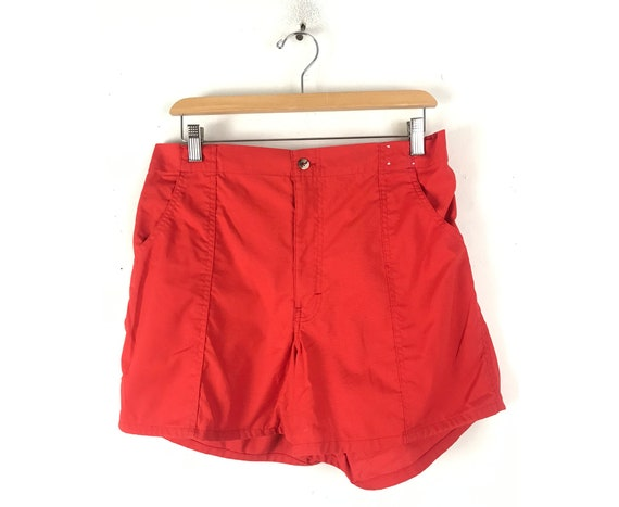80s Red Short Shorts Mens Size 32 Waist, Vintage M