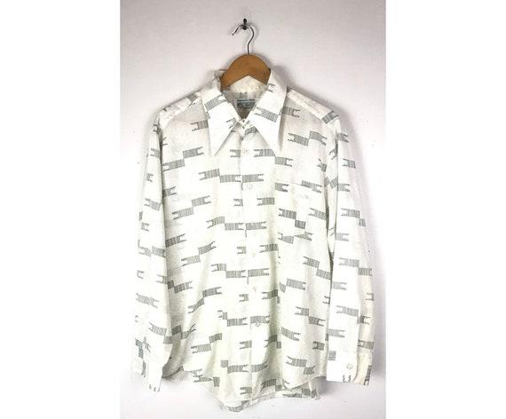 70s Kmart White & Green Print Disco Shirt Mens Siz