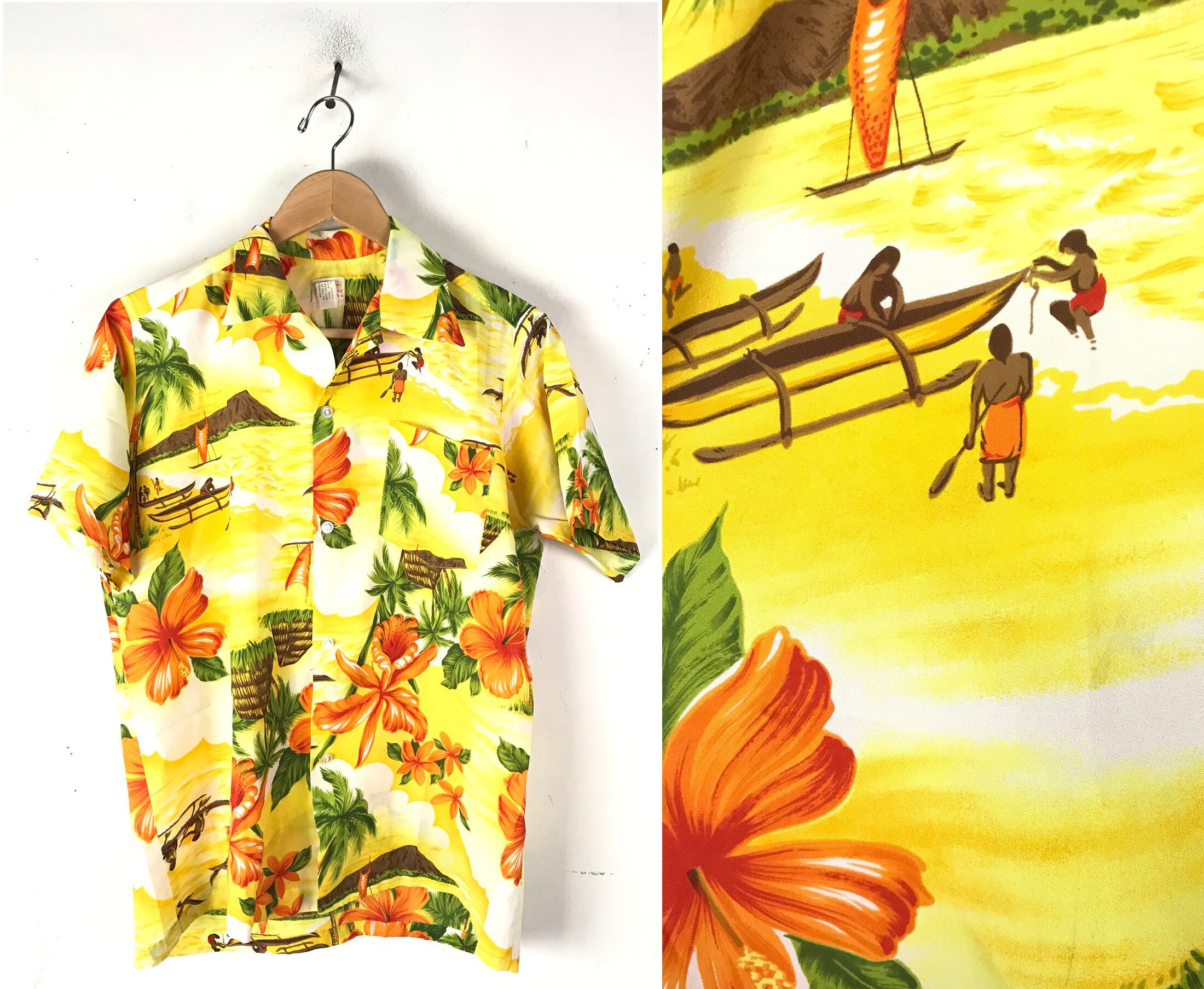 1970s Men's Shirt Styles – Vintage 70s Shirts for Guys 70S Sears Floral Island Hawaiian Shirt Mens Size MediumLarge, Vintage Yellow Orange Tropical Beach Shirt, 1970S Bright $114.00 AT vintagedancer.com