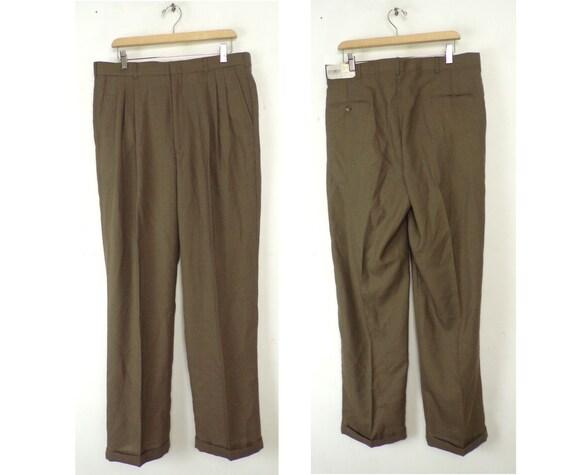Vintage Brown Dress Pants Mens 36 Waist, New Old S