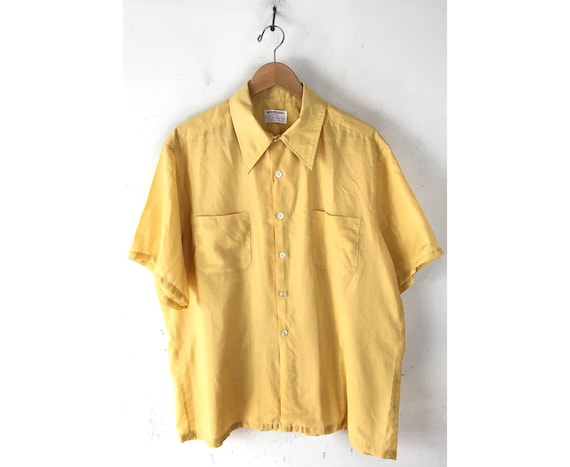 70s McGregor Mustard Yellow Disco Shirt Mens XL 17