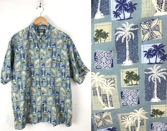 90s Blue & Green Palm Tree Print Hawaiian Shirt Me