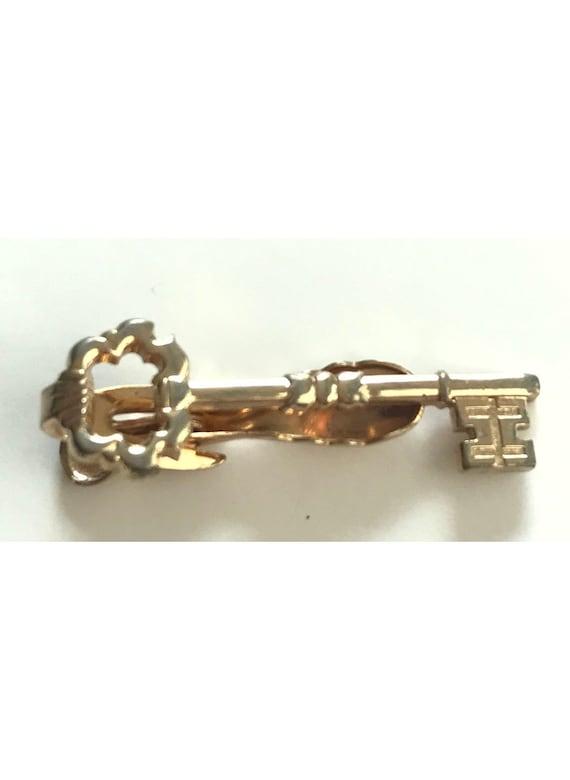 Vintage Key Tie Clip, Old Time Key, Vintage Gold K