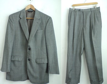 70s Matching Two Piece Suit Blue Gray Blazer Pants Retro Twin Set Womens Small W30 L30 Pleated Straight Leg Pants Collared Button Up Jacket Yt9Lb1