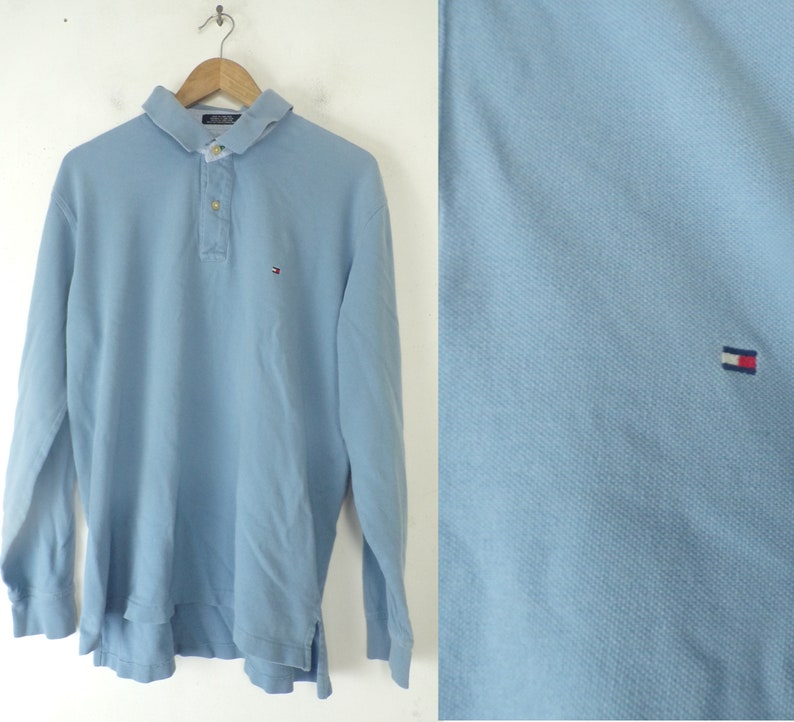 7c9515fd Vintage Tommy Hilfiger Polo Long Sleeve Blue Polo Shirt | Etsy