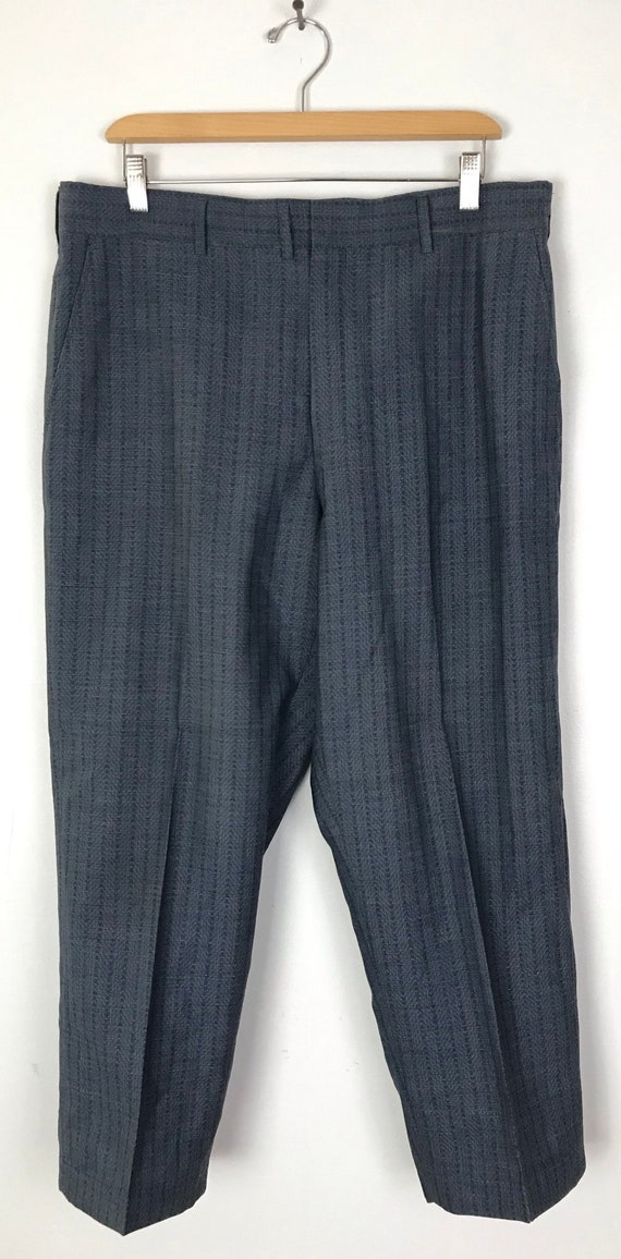 70s Blue Zigzag Print Cropped Dress Pants Mens Si… - image 2