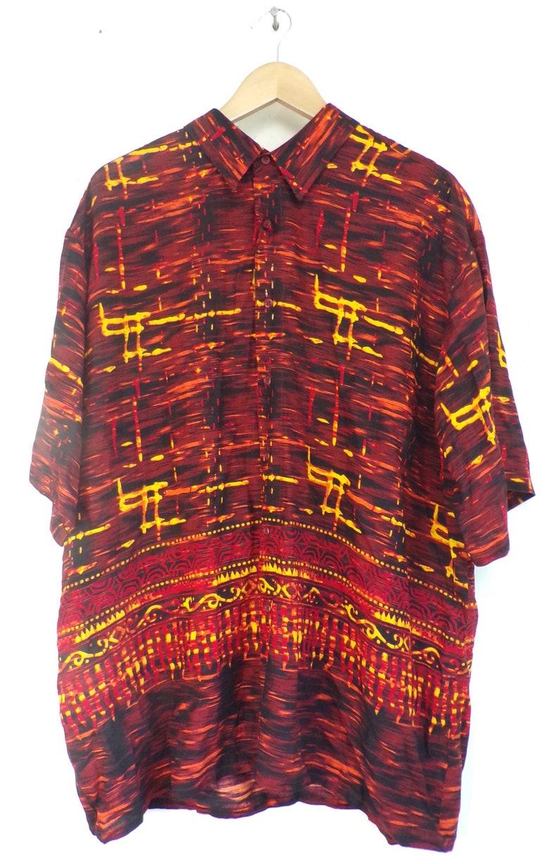Print Fire 90s Red /& Yellow Printed Shirt Mens Size XL Bold Shirt Hawaiian Shirt Red Yellow Retro Shirt Print Shirt Abstract Shirt