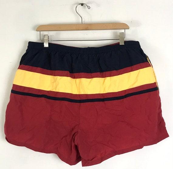 90s Nautica Red Yellow & Red Striped Short Swim T… - image 4