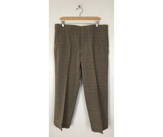 80s Brown & Orange Plaid Cropped Pants Mens Size … - image 1