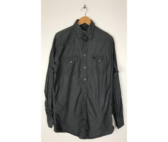 Vintage Wrangler Black Print Western Shirt Mens XL
