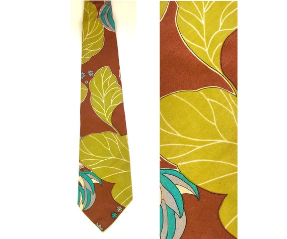 70s Brown Lime Green & Teal Floral Leaf Print Tie,