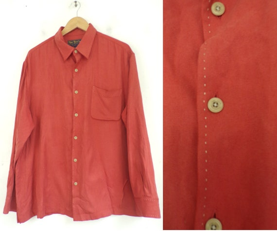 Vintage Nat Nast Orange Silk Button Down Shirt Men