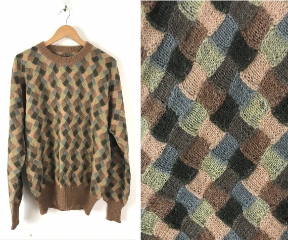 Vintage Brown & Green Patchwork Sweater Mens XL, R