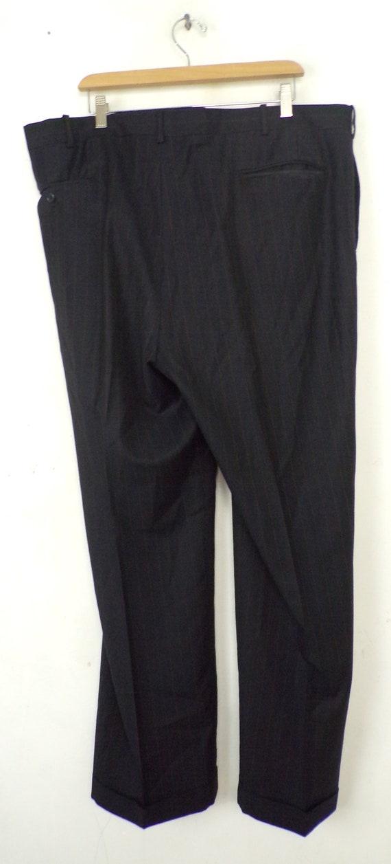 Vintage Black Gold Pinstriped Two Piece Suit Mens… - image 9