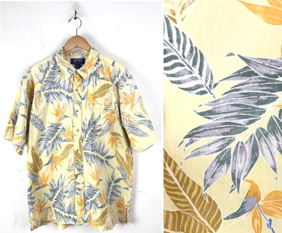 Vintage Yellow & Blue Leaf Print Hawaiian Shirt Me