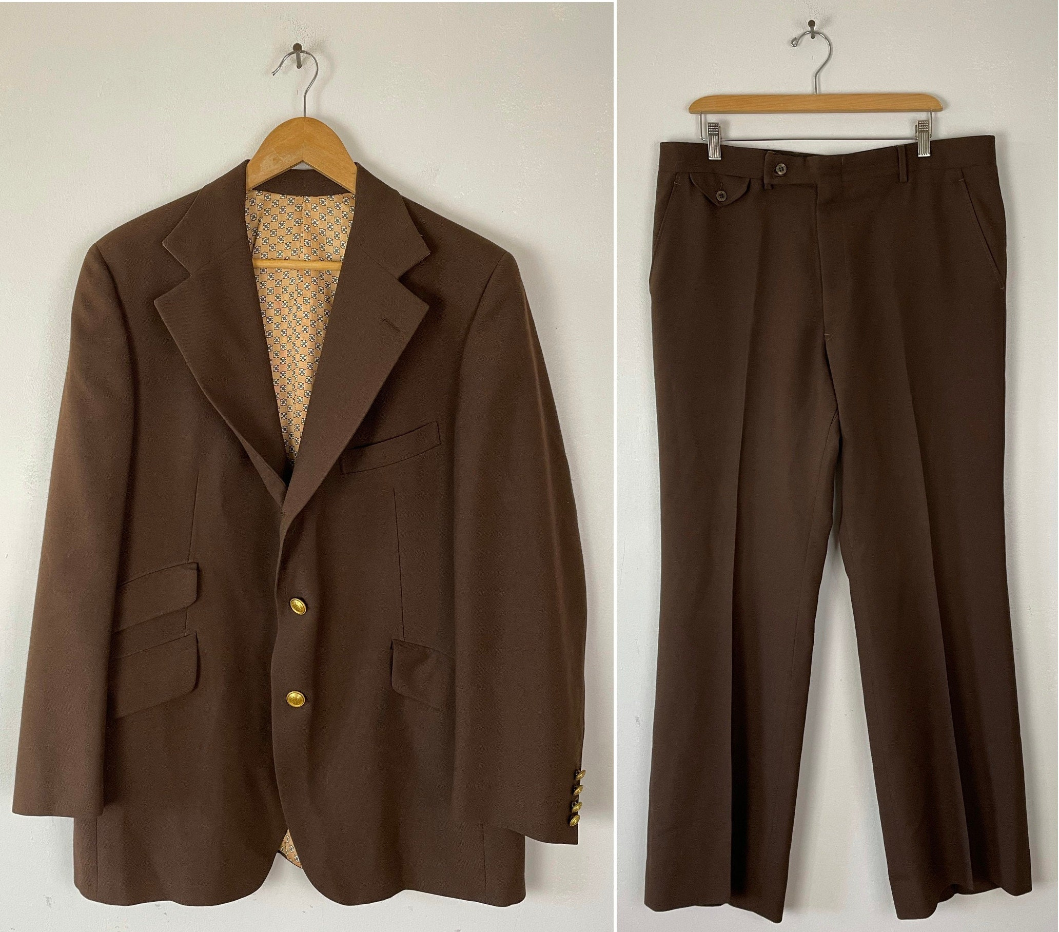 1960s – 70s Men's Ties | Skinny Ties, Slim Ties 60S Dark Brown Two Piece Suit With Gold Buttons Mens Size 44  36W, Vintage Classy Suit, 1960S Formal Event Wedding $50.00 AT vintagedancer.com