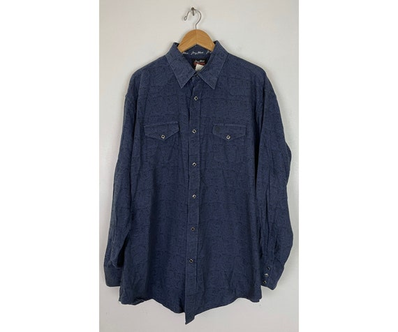 Vintage Wrangler Blue & Black Paisley Western Shir
