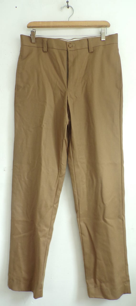 80s LL Bean Tan Wool Pants Mens Size 32 Waist, Ta… - image 2