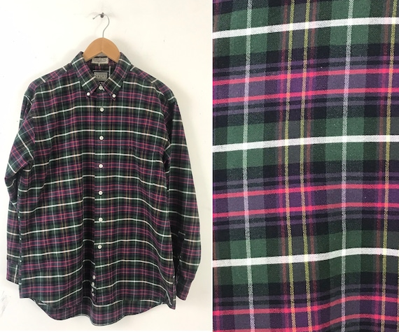 Vintage Plaid Shirt, 90s Green Pink & Purple Plaid