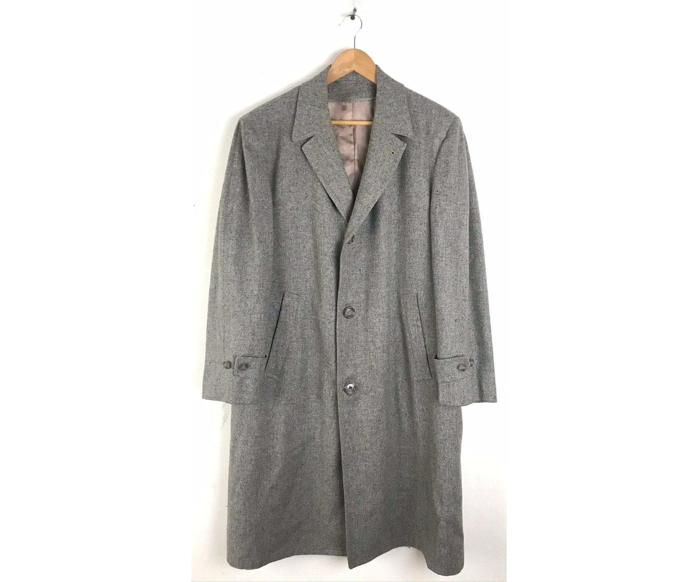 1950s Mens Hats | 50s Vintage Men's Hats 50S Gray Marbled Wool Overcoat With Plaid Lining Mens Size Large, Vintage Coat, 1950S Robert Hall High End Coat $80.00 AT vintagedancer.com