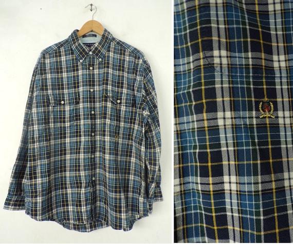 Vintage Mens Tommy Shirt, 1990s Hilfiger Blue Pla… - image 1