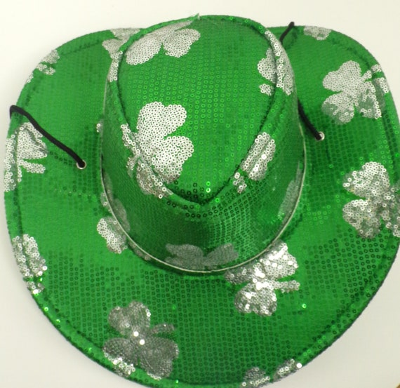 Vintage Sequin Three Leaf Clover Cowboy Hat, Three