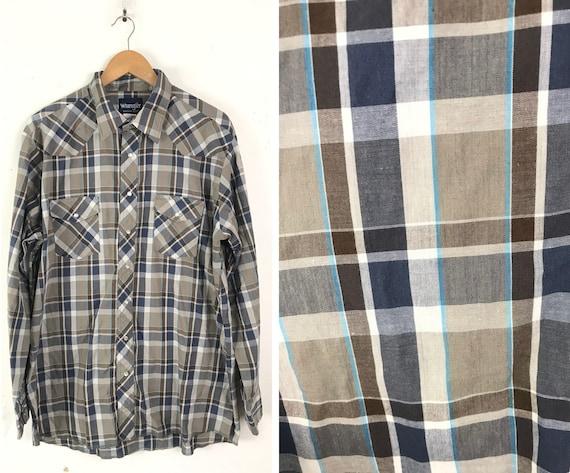 Vintage Wrangler Brown & Blue Plaid Western Shirt